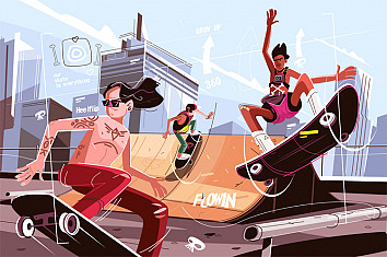Skateboards: learn how to a draw a deck with trucks and wheels | Illustration: Shutterstock