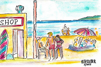 Beach: learn how to draw a simple sandy beach | Illustration: Robert Huffstutter