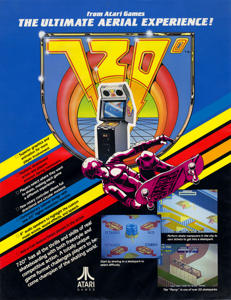 720º: the official flyer of the 1987 Atari arcade skateboarding game