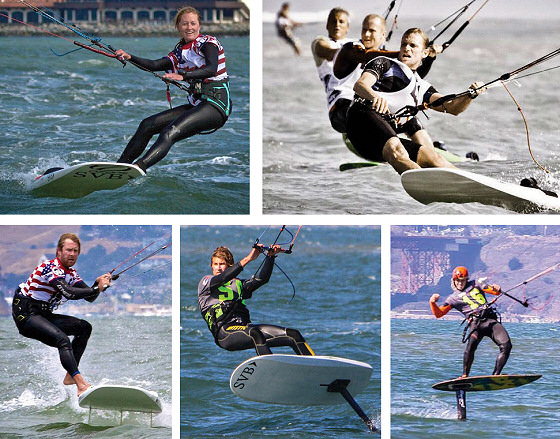 Erika, Tyler, Joey, Johnny and Bryan: nominees for the American Kiteboarding Association 2013 Kite Racer of the Year