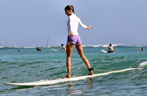 Alessandra Ambrosio: future world surfing champion