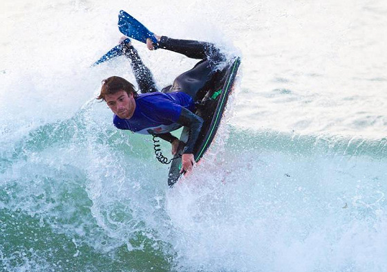 Alex Winkworth: maintaining a serious posture even while bodyboarding