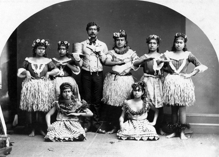 Ancient Hula dancers: photographed by J. J. Williams circa 1883