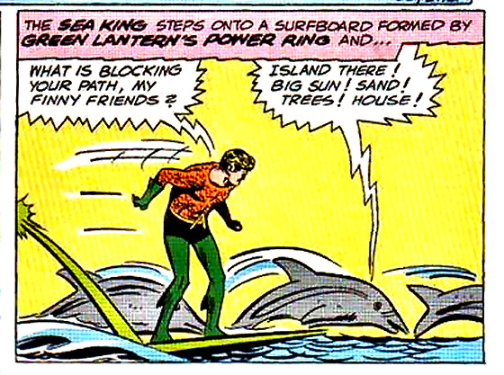 Surfing super heroes: Aquaman rides with his dolphin friends