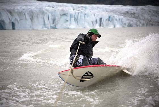 Arctic surfer: wearing a 6mm wetsuit