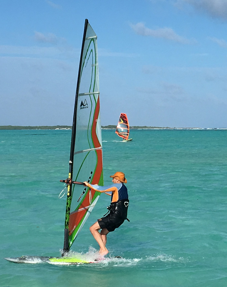 Arkady Kokish (2017): windsurfing in the crystal clear waters of Bonaire | Photo: Kokish Family Archive