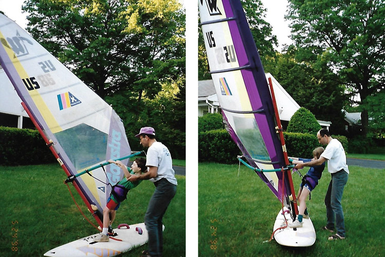 Arkady Kokish (1998): teaching basic windsurfing skills to Mark and Iris | Photo: Kokish Family Archive