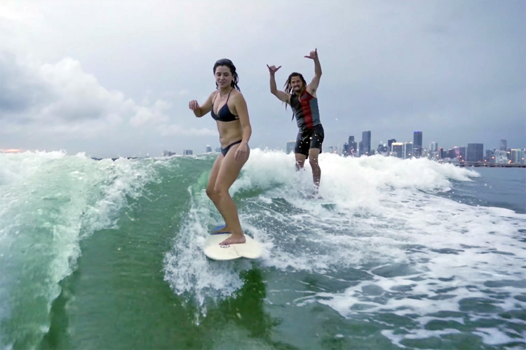Anastasia Ashley and Austin Keen: wakesurfing in Miami