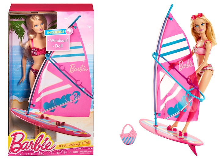 Barbie sets sail in her pink windsurfing kit