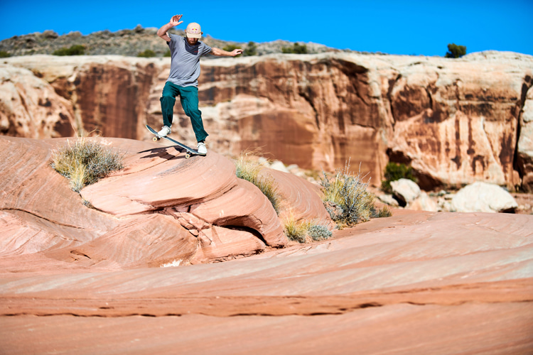 Barney Page: performing tricks at the world's oldest natural skatepark | Photo: Jonathan Mehring/Red Bull