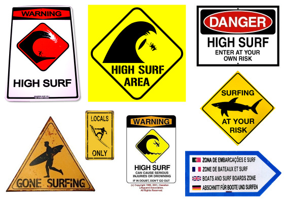 Surf signs: funny, scary and informative