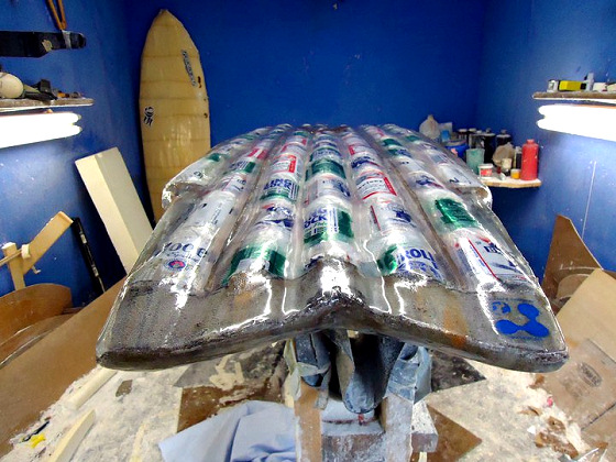 Recycled beer can surfboard: don't drink while surfing
