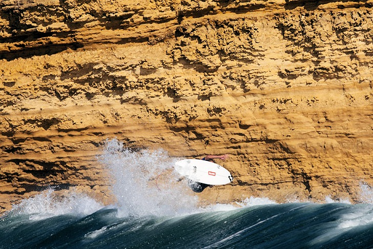 Bells Beach: a limestone cliff overlooking the wave