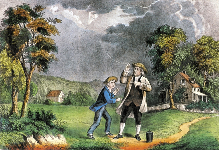 Benjamin Franklin: his 1752 kite experiment paved the way to the creation of the lightning rod | Illustration: Creative Commons