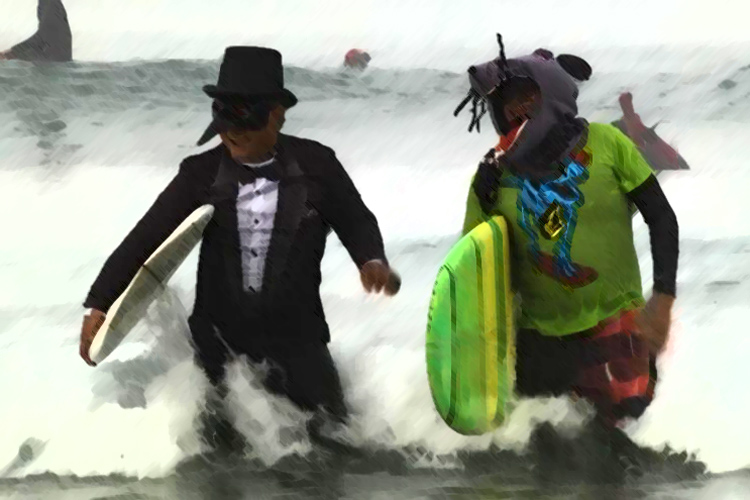 Blackies, Newport Beach: the 2018 Halloween Surf Day attracted 100 spooky creatures