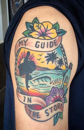Bodyboard tattoo: my guide in the storm