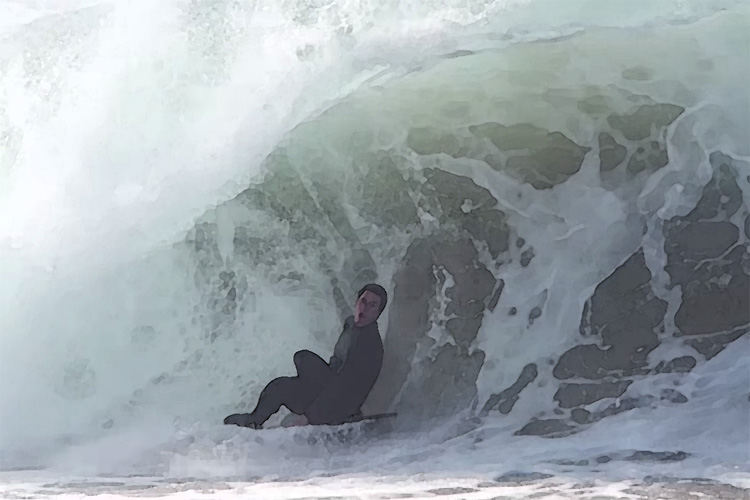 Brad Domke: seated and relaxed at The Wedge