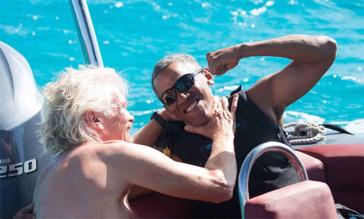 Richard Branson and Barack Obama: who won the kiteboarding challenge? | Photo: Brockway/Virgin