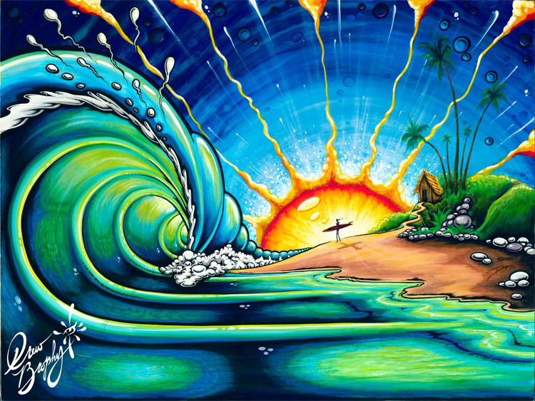 Surf art: Drew Brophy's unique style involves exaggerated features and intense, bright colors