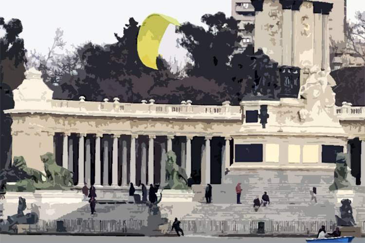 Buen Retiro Park: Antoine Auriol went kitesurfing in the heart of Madrid