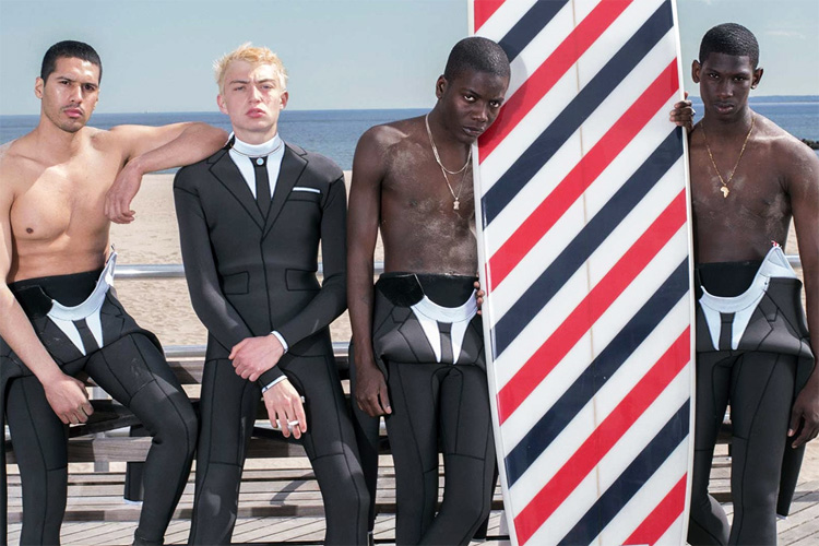 Trompe L'Oeil Technical Wetsuit: a neoprene for surfers designed by Thom Browne | Photo: Wayne Lawrence