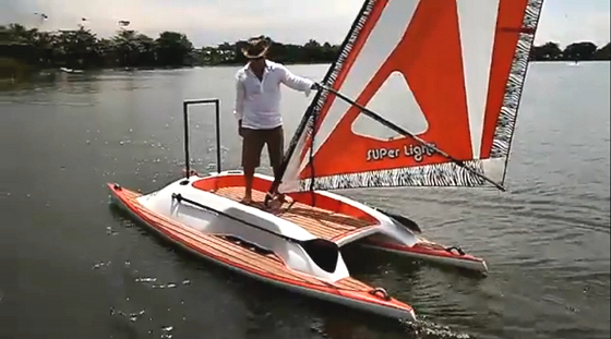 Catamaran Windsurfer: a rideable prototype