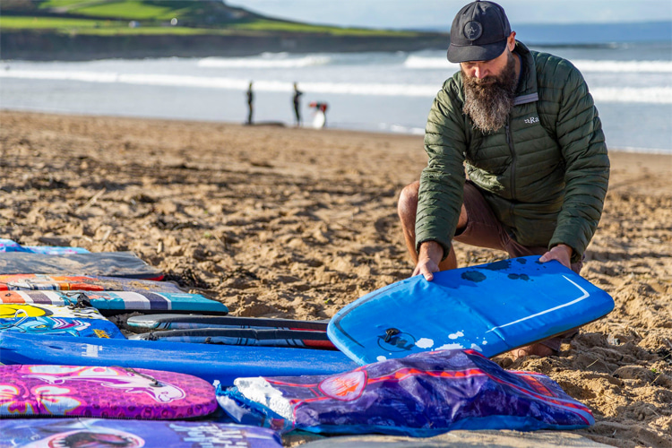 Asian-made bodyboards: thousands of cheap, single-use bodyboards are being dumped every year along the coastlines | Photo: Keep Britain Tidy