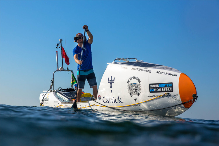Chris Bertish: his SUP craft will help him cross the Atlantic Ocean: Photo: The SUP Crossing