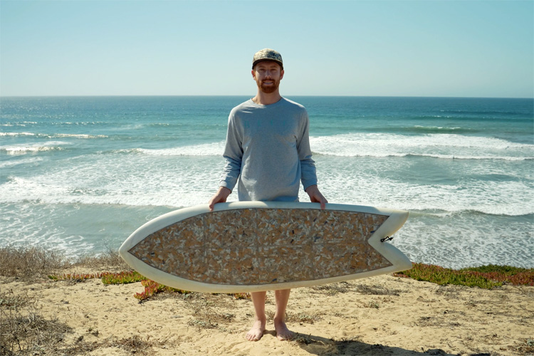 Taylor Lane: he shaped a surfboard using 10,000 cigarette butts