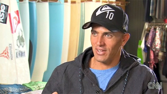 Kelly Slater: smile, you're on CNN