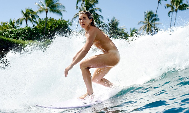 Coco Ho: riding naked, yet focused | Photo: ESPN The Magazine's 2014 Body Issue