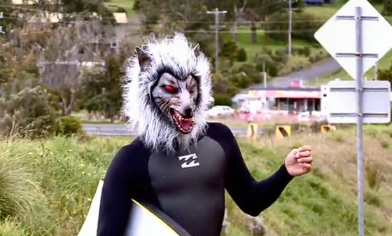 Cold Feet: one of many wolf bodyboarders