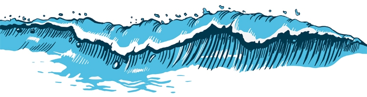 Waves: it's easy to draw a breaking ocean roller | Illustration: Shutterstock