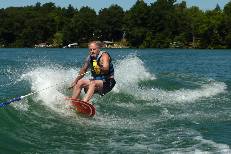 Craig Libuse: wakeboarding behind his family's ski boat on a Wisconsin lake | Photo: Libuse Archive