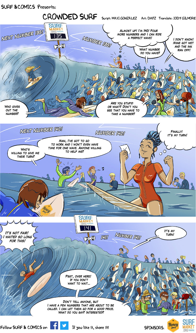 Crowded Surf: a surf comic by Maxi González and David Perez