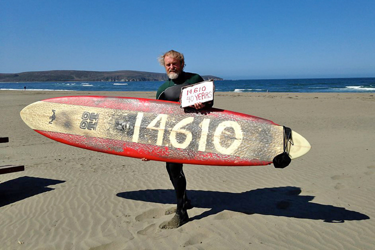 Dale Webster takes a break after 14,642 consecutive days of surfing
