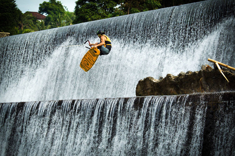 Daniel Grant: flying over a Balinese temple | Photo: Rip Curl