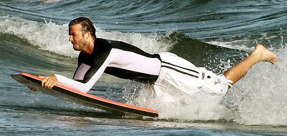 David Beckham: a surfing celebrity