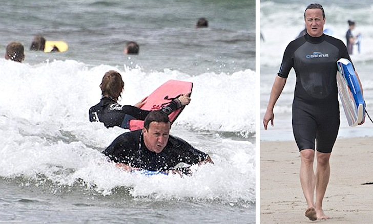 British Prime Minister hits the waves of Cornwall
