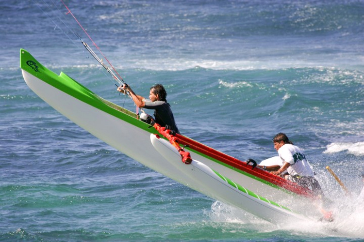 Don Montague: trying canoe kiting in 2004 | Photo: Kiteboat Project