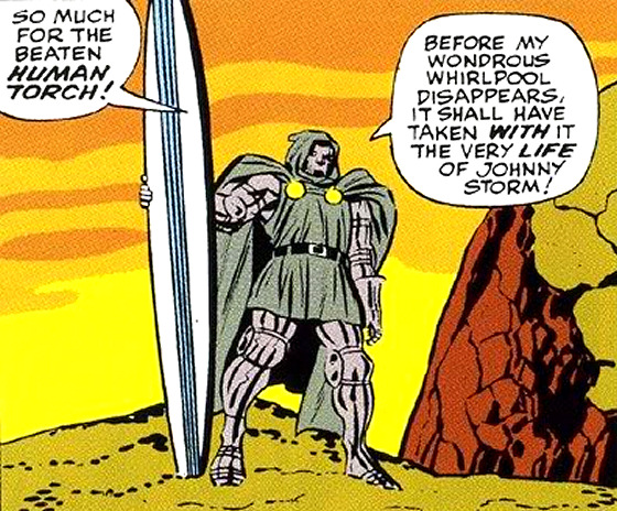 Surfing super heroes: Doctor Doom shows his gun
