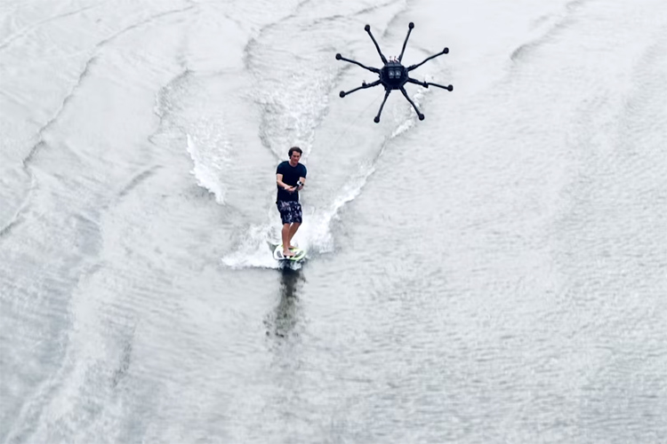 Drone surfing: Henning Sandstrom rides a an $17,500 octocopter