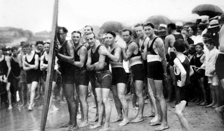 Freshwater Beach, Sydney, December 1914: Duke Kahanamoku introduces surfing in Australia