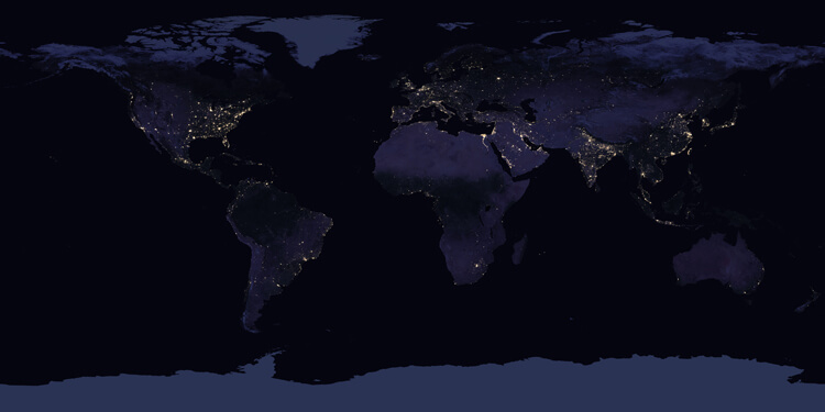 The Earth at Night World Map