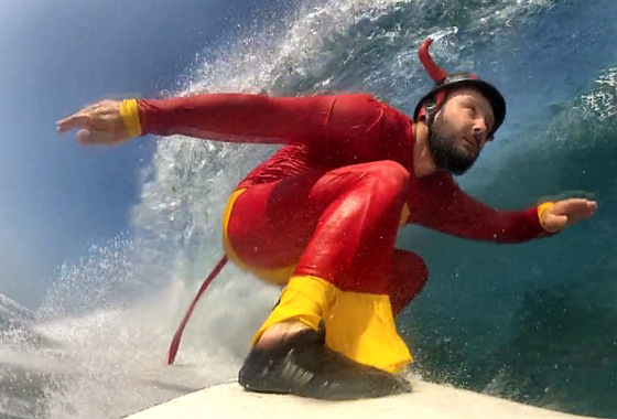 Eddie Wearne: ready to surf and drink his barrel beer