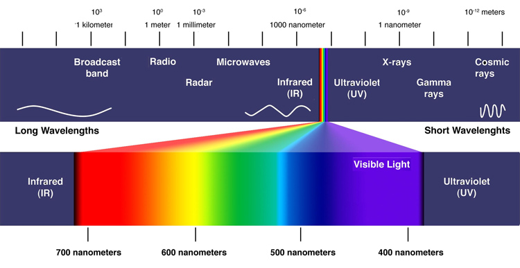 Electromagnetic Spectrum: our retina only captures light wavelengths in the range of 400–700 nanometres (nm)