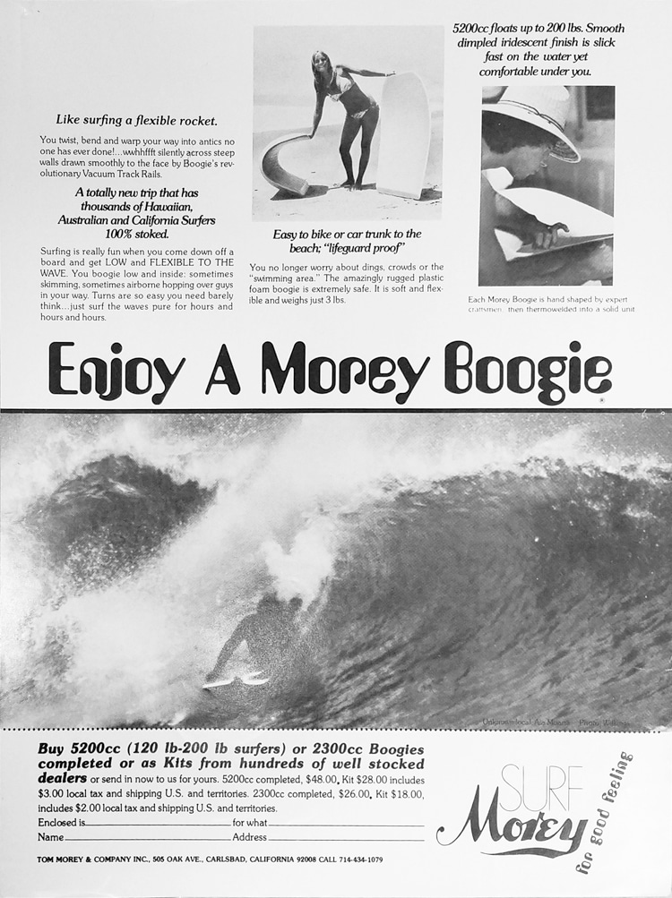Morey Boogie: Tom Morey was a fan of the words 'enjoy' and 'good' in his ads | Ad: Libuse Archive