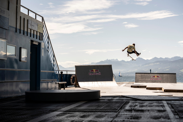 Lake Zurich: Simon Stricker, Noel Schaerer, Jan Hirt, and Fabio Martin enjoy a a self-built skate park installed aboard a ferry | Photo: Red Bull