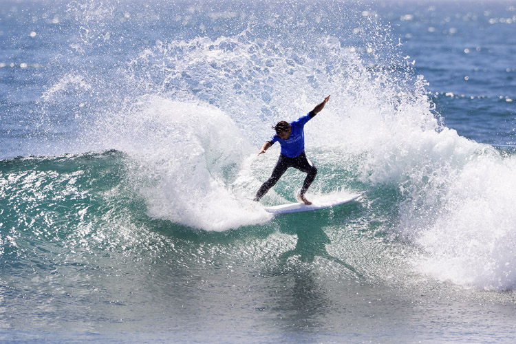 Frederico Morais: applying his power surfing skills in Lower Trestles | Photo: Rowland/WSL