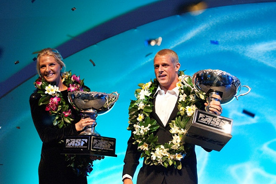 Stephanie Giomore and Mick Fanning: winners always smile